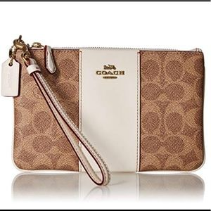 Coach Colorblock Canvas Signature Small Wristlet